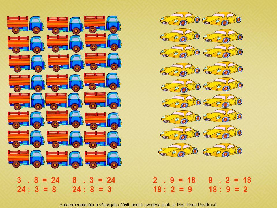 3. 8 = 248. 3 = 24 24 : 3 = 824 : 8 = 3 2. 9 = 189. 2 = 18 18 : 2 = 918 : 9 = 2 Autorem materiálu a všech jeho částí, není-li uvedeno jinak, je Mgr. H