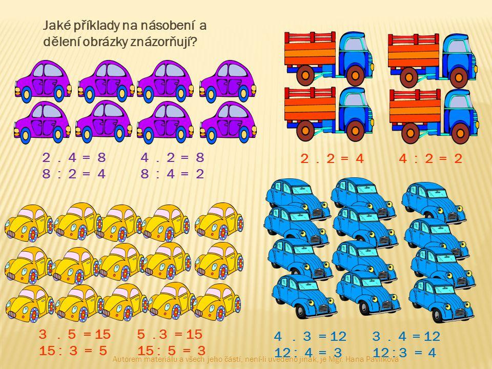 Jaké příklady na násobení a dělení obrázky znázorňují? 2. 4 = 84. 2 = 8 8 : 2 = 48 : 4 = 2 2. 2 = 44 : 2 = 2 3. 5 = 155. 3 = 15 15 : 3 = 515 : 5 = 3 4