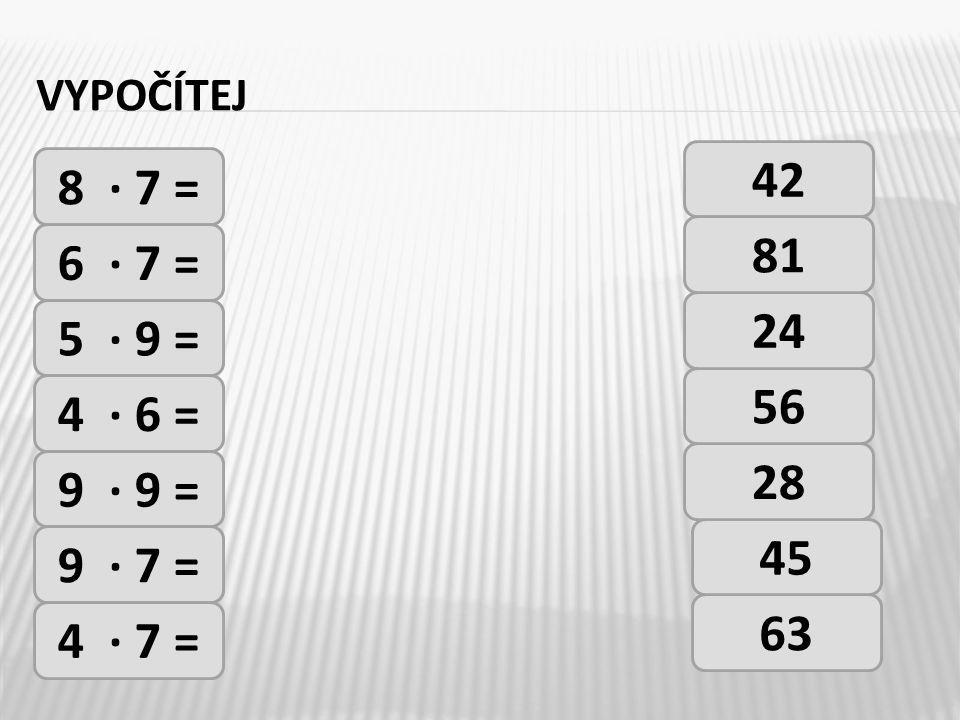 VYPOČÍTEJ 8 · 7 = 6 · 7 = 5 · 9 = 4 · 6 = 9 · 9 = 9 · 7 = 4 · 7 = 42 63 45 28 56 24 81