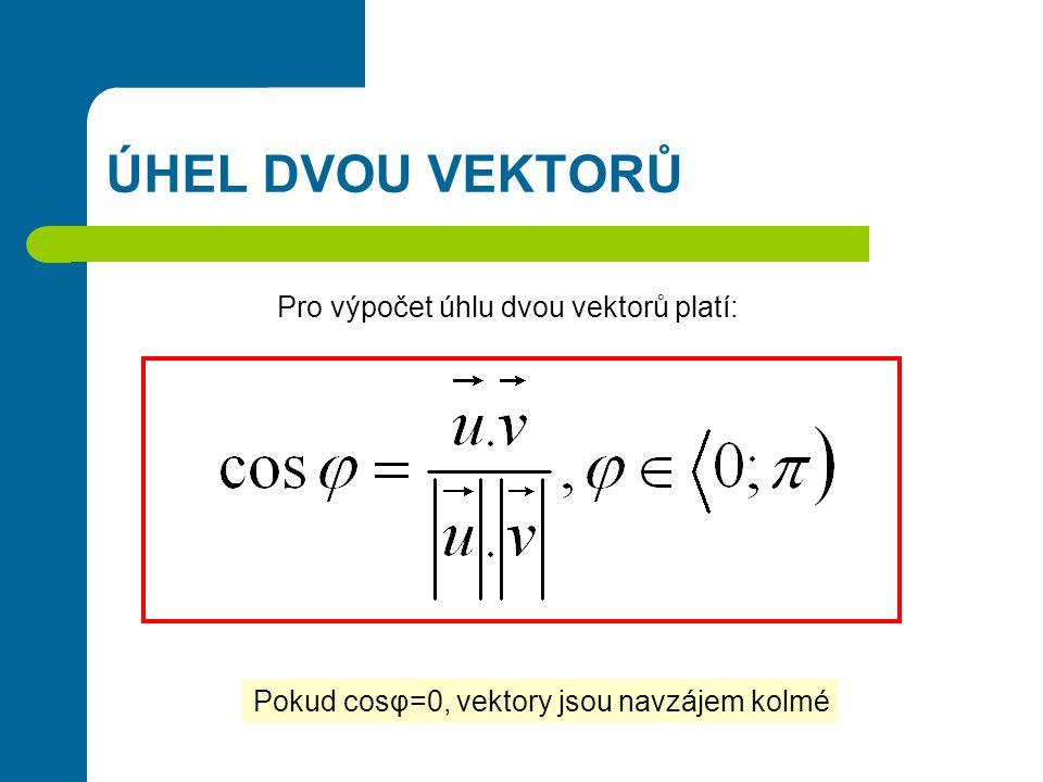 ÚHEL DVOU VEKTORŮ … poloměr kružnice … střed kružnice … bod ležící na kružnici Pro výpočet úhlu dvou vektorů platí: Pokud cosφ=0, vektory jsou navzájem kolmé