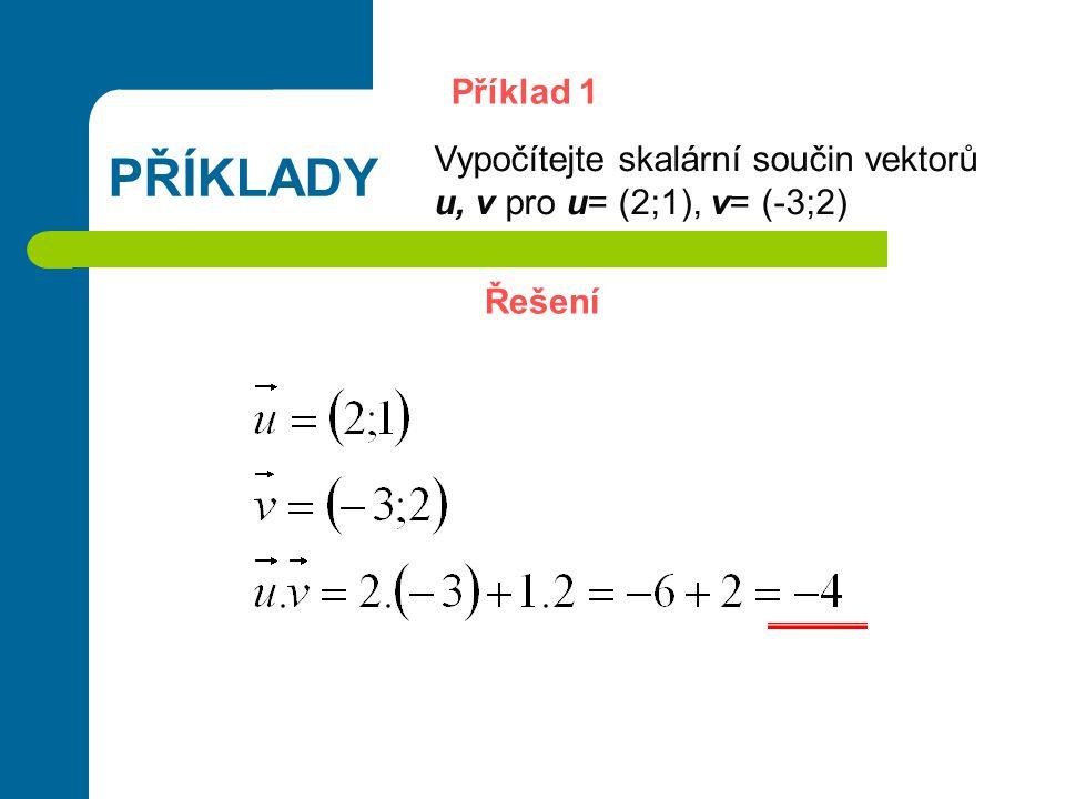 PŘÍKLADY Příklad 1 Vypočítejte skalární součin vektorů u, v pro u= (2;1), v= (-3;2) Řešení