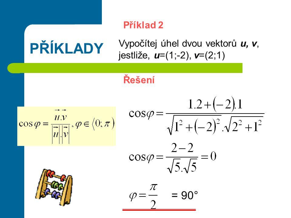 PŘÍKLADY Příklad 2 Vypočítej úhel dvou vektorů u, v, jestliže, u=(1;-2), v=(2;1) Řešení = 90°