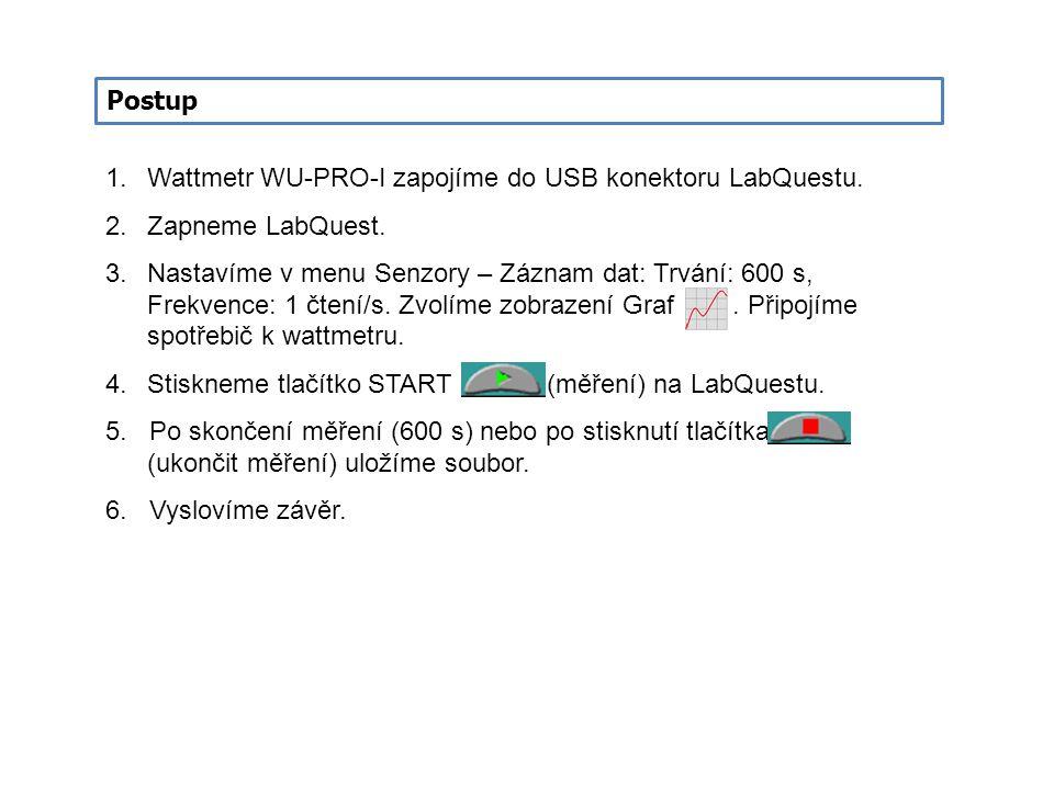 Postup 1.Wattmetr WU-PRO-I zapojíme do USB konektoru LabQuestu. 2.Zapneme LabQuest. 3.Nastavíme v menu Senzory – Záznam dat: Trvání: 600 s, Frekvence: