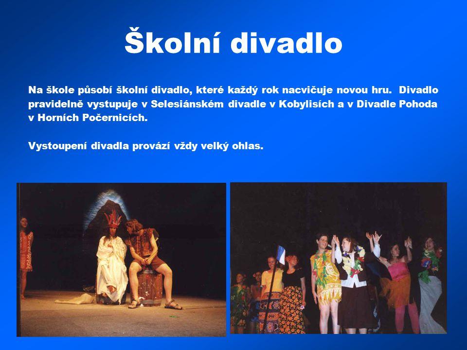 Školní divadlo Na škole působí školní divadlo, které každý rok nacvičuje novou hru. Divadlo pravidelně vystupuje v Selesiánském divadle v Kobylisích a