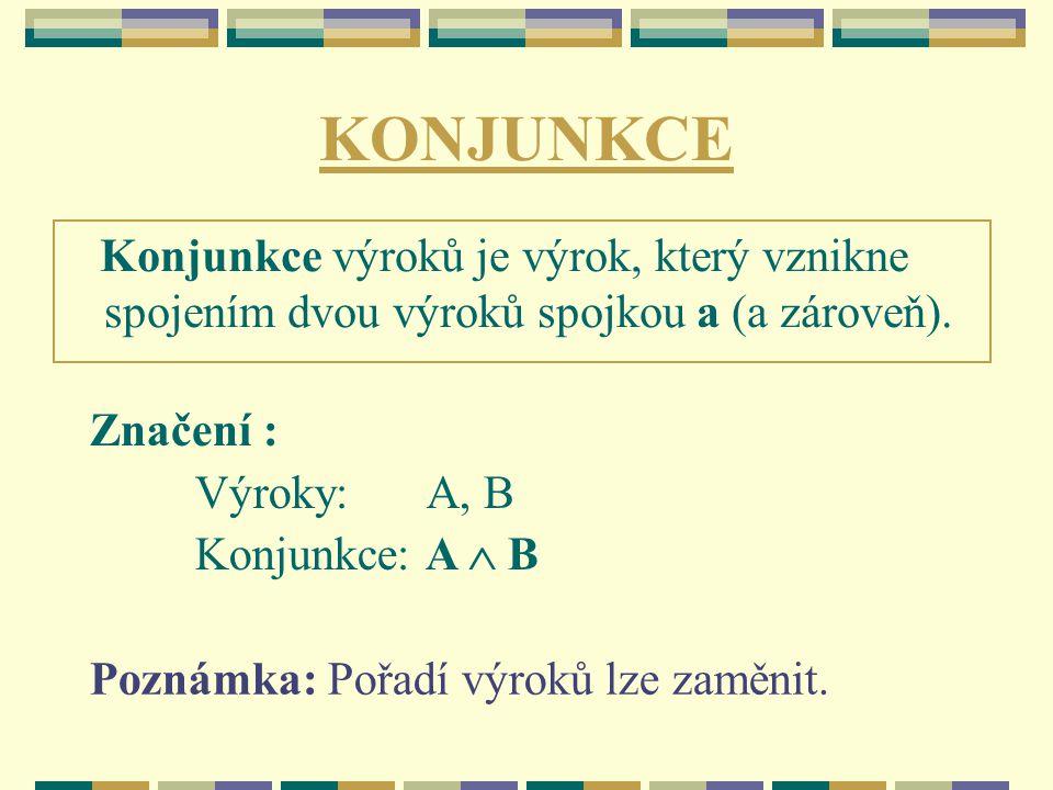 KONJUNKCE Konjunkce výroků je výrok, který vznikne spojením dvou výroků spojkou a (a zároveň).