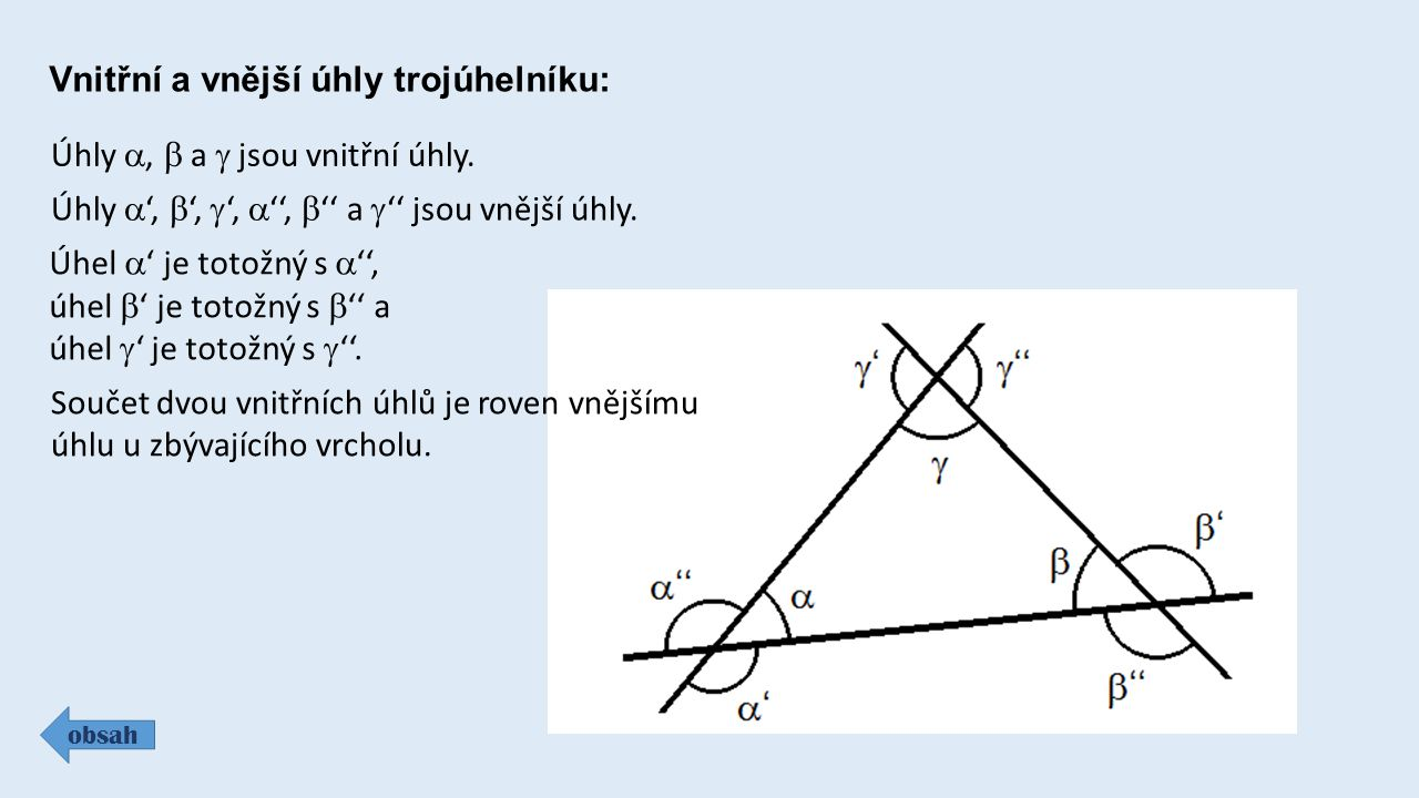 Vnitřní a vnější úhly trojúhelníku: obsah Úhly ,  a  jsou vnitřní úhly.