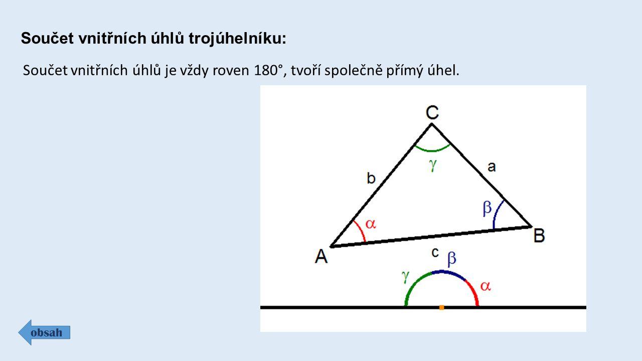 Trojúhelníková nerovnost : obsah Aby bylo možné trojúhelník sestrojit, musí pro jeho strany platit trojúhelníková nerovnost: Součet velikostí dvou kratších stran musí být větší než délka nejdelší strany.