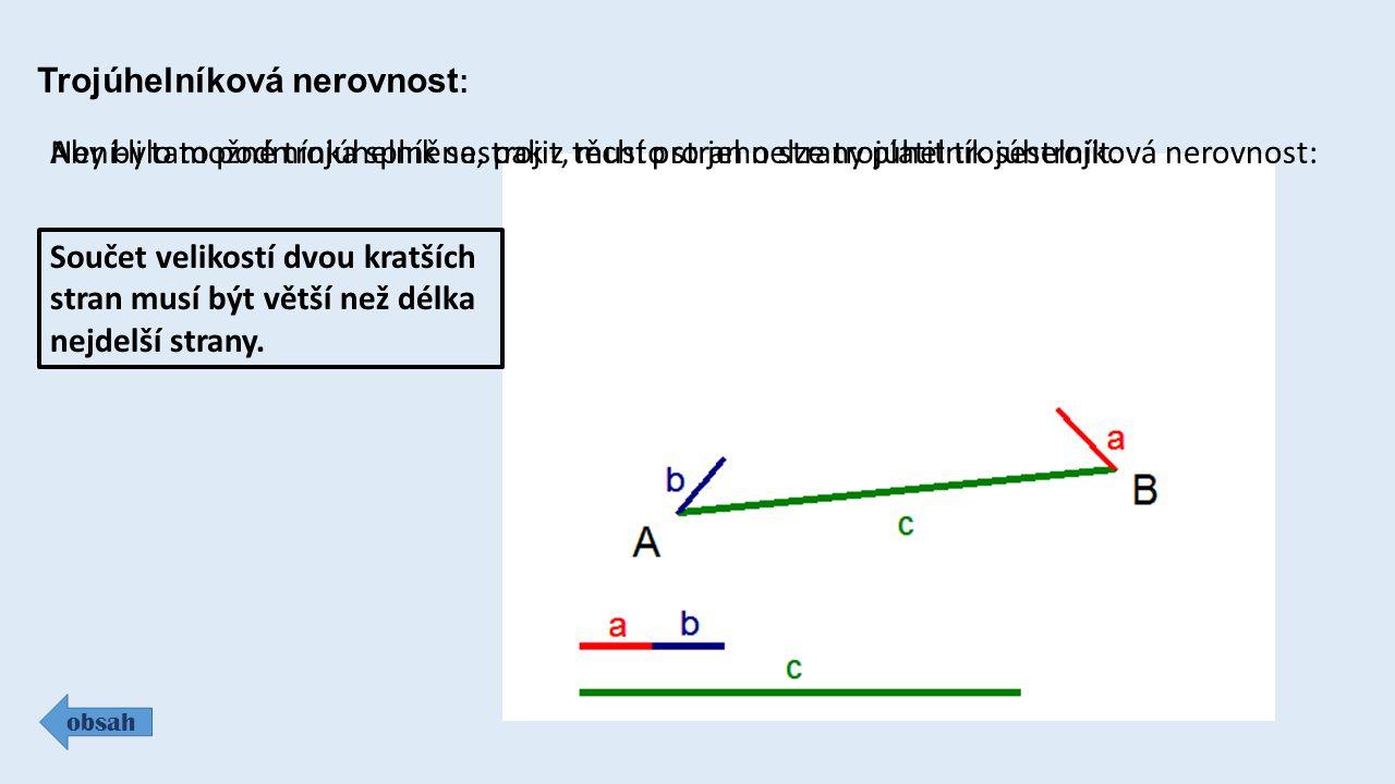 Trojúhelníková nerovnost : obsah Aby bylo možné trojúhelník sestrojit, musí pro jeho strany platit trojúhelníková nerovnost: Součet velikostí dvou kra
