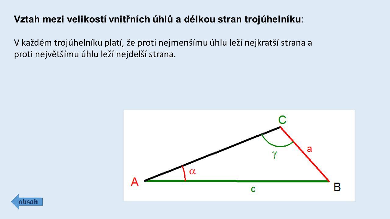 Vztah mezi velikostí vnitřních úhlů a délkou stran trojúhelníku: obsah V každém trojúhelníku platí, že proti nejmenšímu úhlu leží nejkratší strana a p