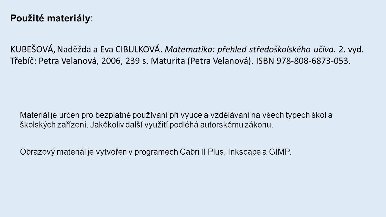 Použité materiály: KUBEŠOVÁ, Naděžda a Eva CIBULKOVÁ.