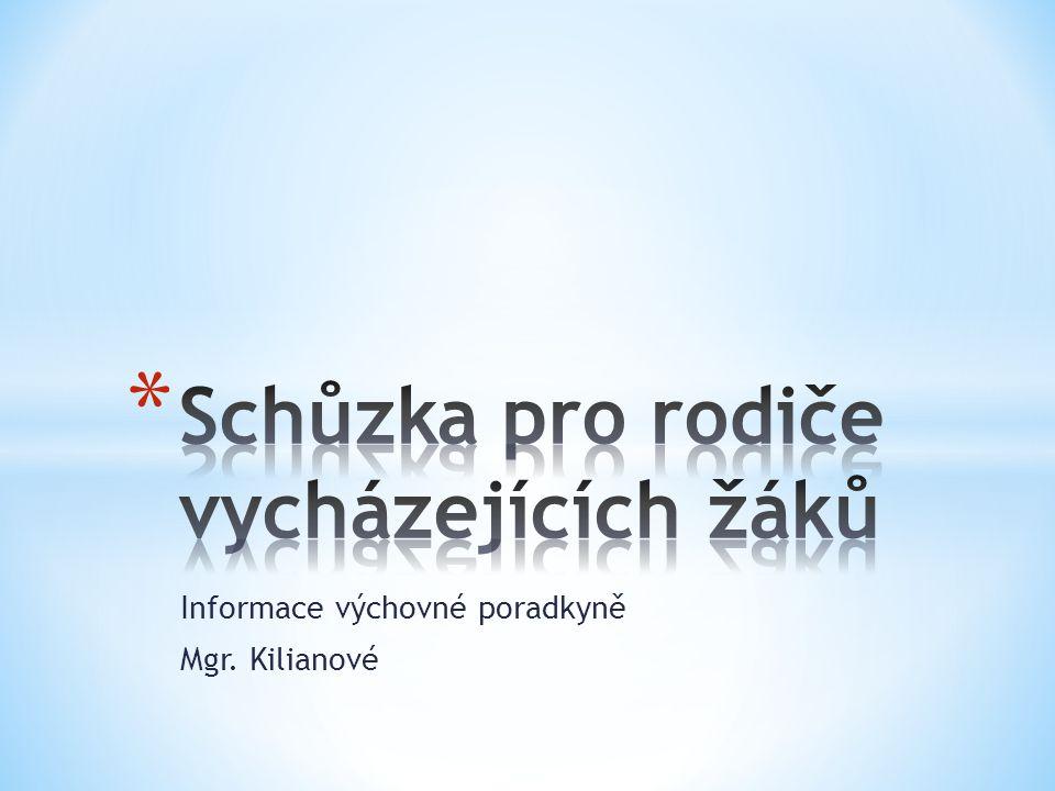 Informace výchovné poradkyně Mgr. Kilianové