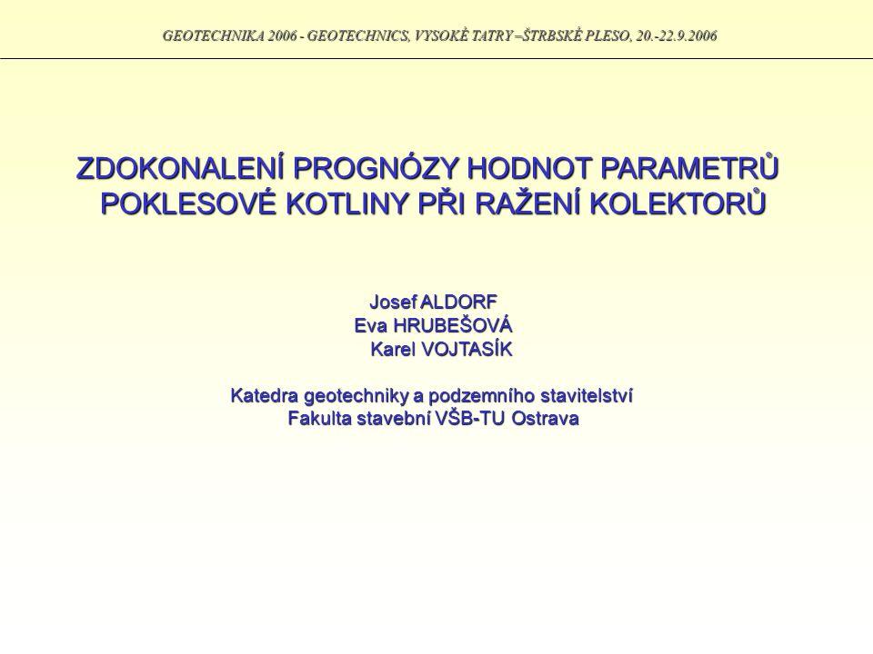 GEOTECHNIKA 2006 - GEOTECHNICS, VYSOKÉ TATRY –ŠTRBSKÉ PLESO, 20.-22.9.2006 PŘÍKLAD Prognóza průběhu poklesové kotliny ze znalostí typu prostředí a hodnoty očekávaného nadvýlomu.
