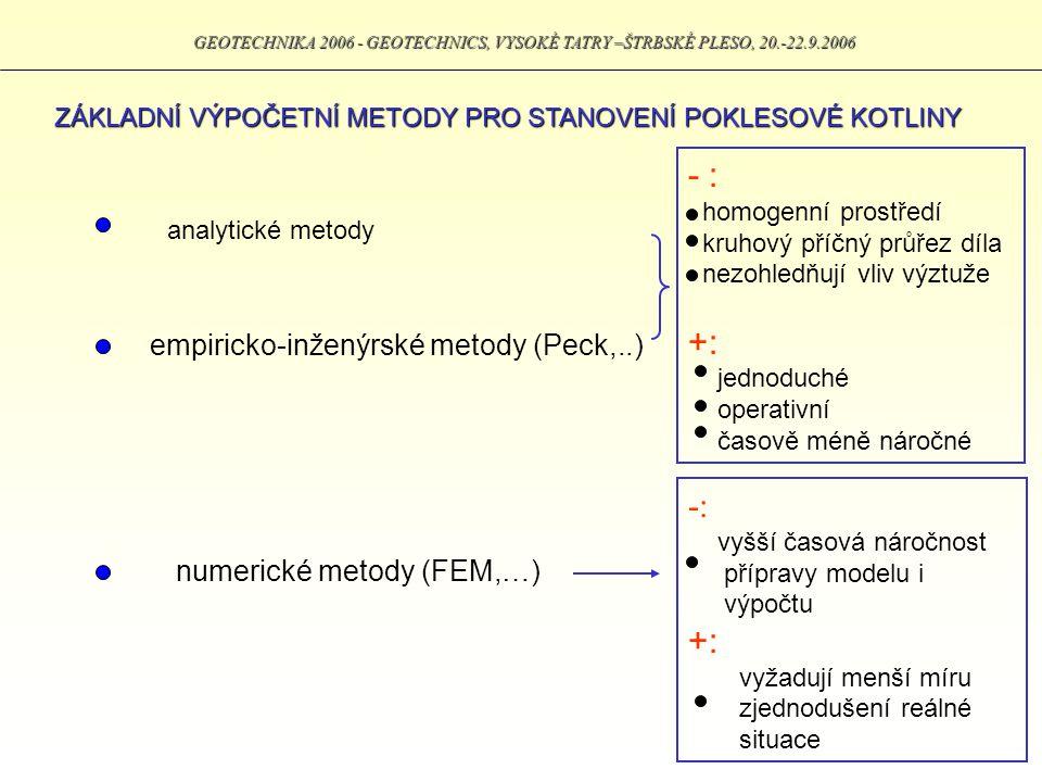GEOTECHNIKA 2006 - GEOTECHNICS, VYSOKÉ TATRY –ŠTRBSKÉ PLESO, 20.-22.9.2006 EMPIRICKÝ PŘÍSTUP STANOVENÍ PARAMETRŮ POKLESOVÉ KOTLINY Měřením reálných situacích bylo zjištěno, že vývoj tvaru poklesové kotliny se blíží průběhu Gaussovy křivky (funkce) rozložení chyb.