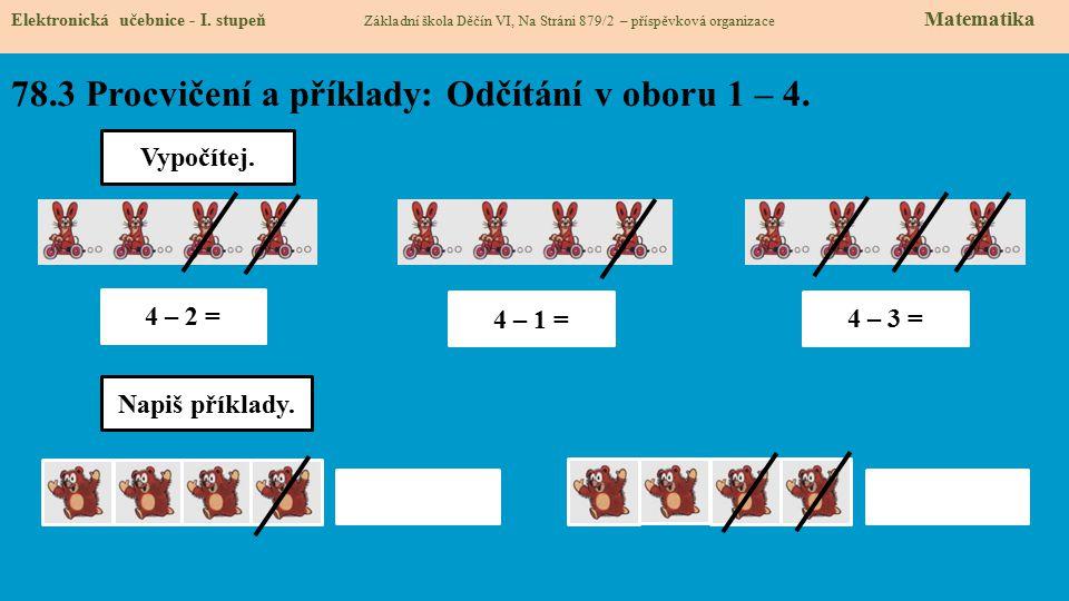 78.4 Procvičení a příklady: Odčítání v oboru 1 – 4.
