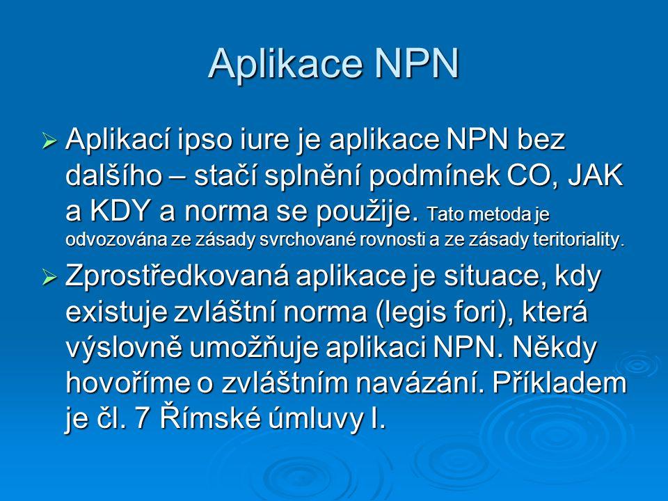 Aplikace NPN  Aplikací ipso iure je aplikace NPN bez dalšího – stačí splnění podmínek CO, JAK a KDY a norma se použije. Tato metoda je odvozována ze