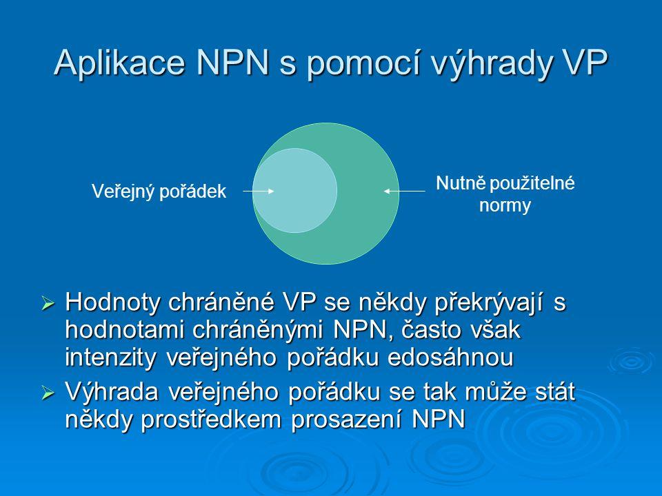 Aplikace NPN s pomocí výhrady VP  Hodnoty chráněné VP se někdy překrývají s hodnotami chráněnými NPN, často však intenzity veřejného pořádku edosáhno