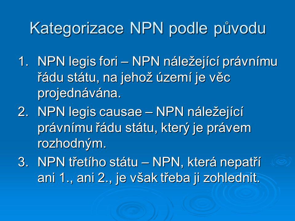 Kategorizace NPN podle původu 1.NPN legis fori – NPN náležející právnímu řádu státu, na jehož území je věc projednávána. 2.NPN legis causae – NPN nále