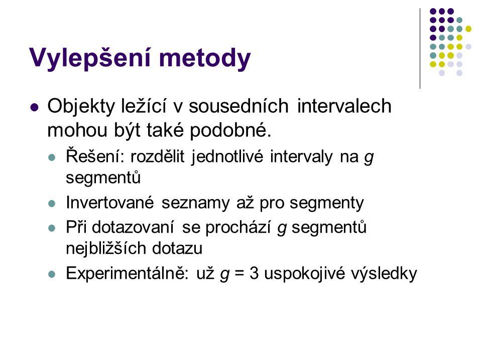 Vylepšení metody Objekty ležící v sousedních intervalech mohou být také podobné. Řešení: rozdělit jednotlivé intervaly na g segmentů Invertované sezna