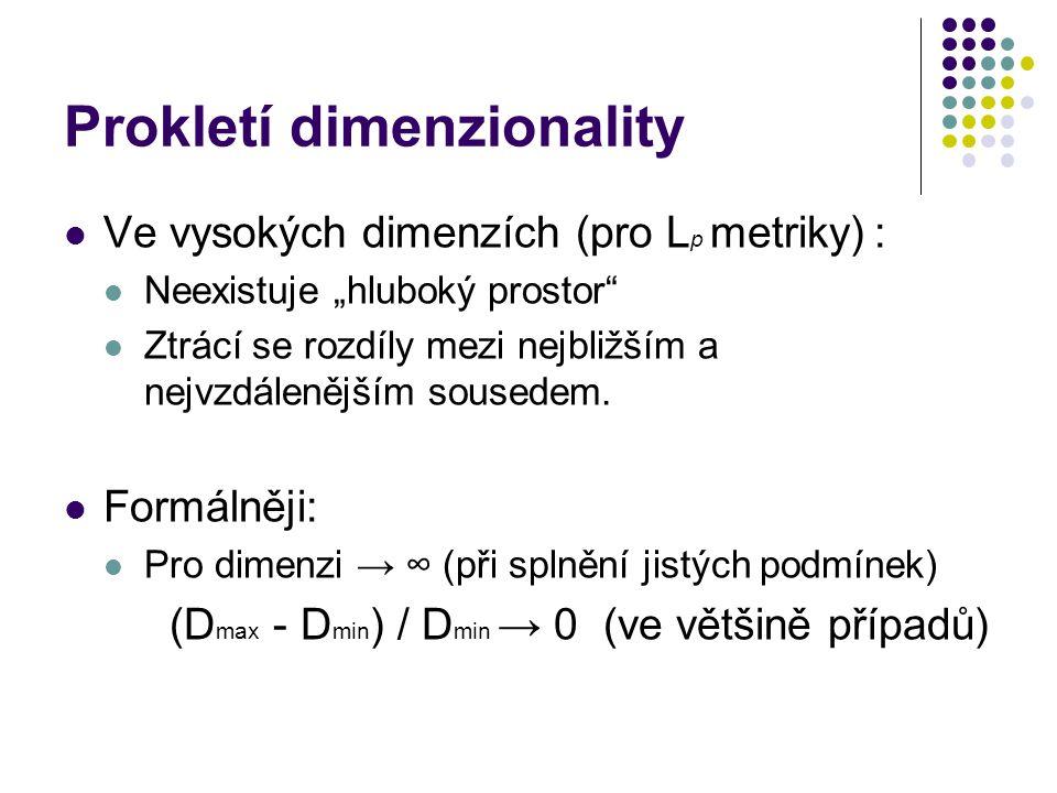 """Prokletí dimenzionality Ve vysokých dimenzích (pro L p metriky) : Neexistuje """"hluboký prostor"""" Ztrácí se rozdíly mezi nejbližším a nejvzdálenějším sou"""