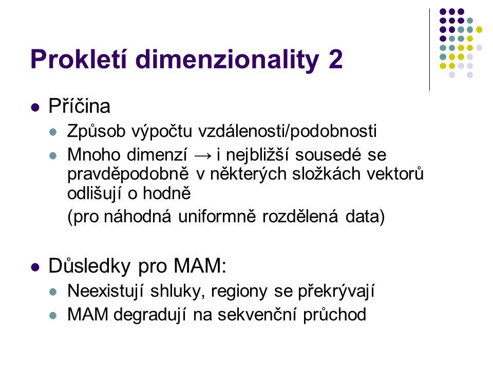 Prokletí dimenzionality 2 Příčina Způsob výpočtu vzdálenosti/podobnosti Mnoho dimenzí → i nejbližší sousedé se pravděpodobně v některých složkách vekt