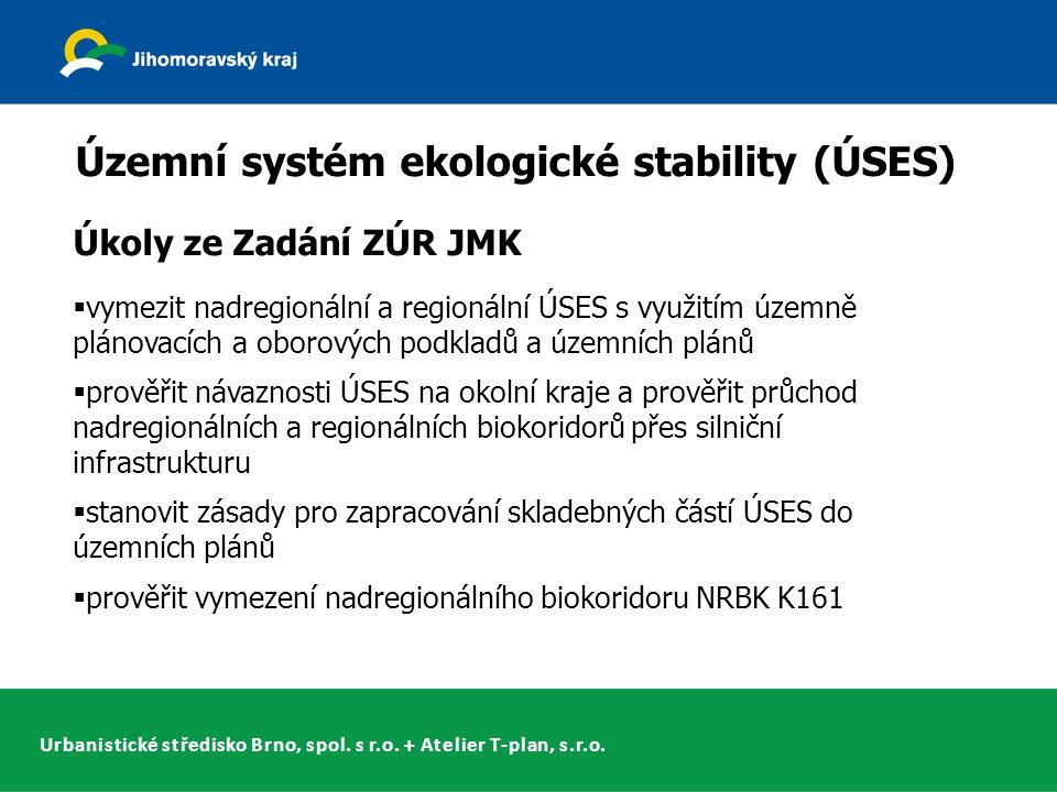 Urbanistické středisko Brno, spol. s r.o. + Atelier T-plan, s.r.o. Územní systém ekologické stability (ÚSES) Úkoly ze Zadání ZÚR JMK  vymezit nadregi