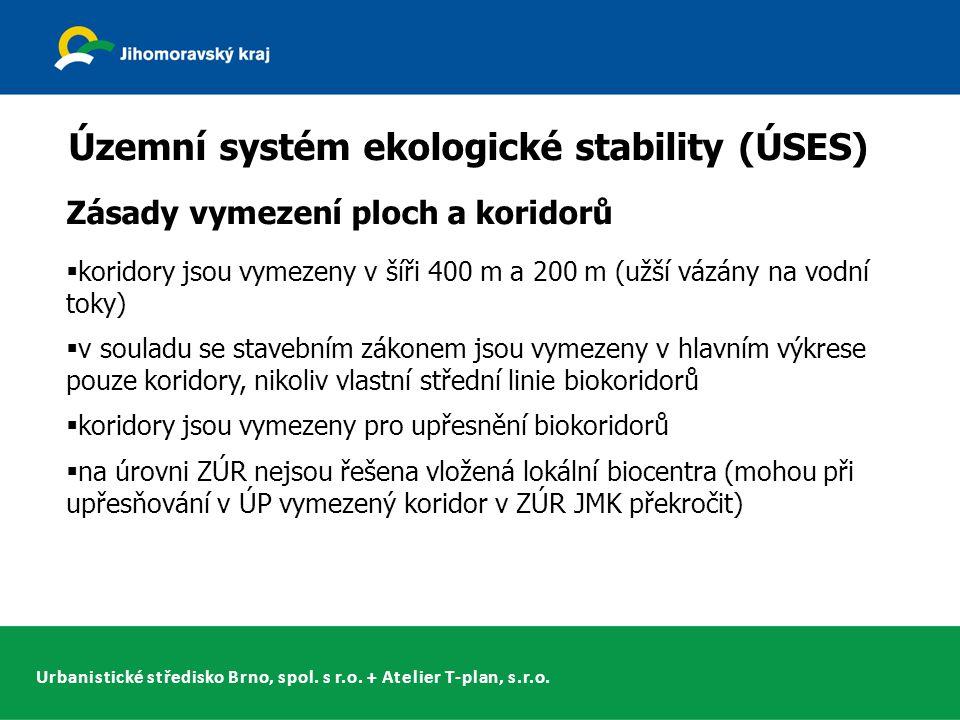 Urbanistické středisko Brno, spol. s r.o. + Atelier T-plan, s.r.o. Územní systém ekologické stability (ÚSES) Zásady vymezení ploch a koridorů  korido