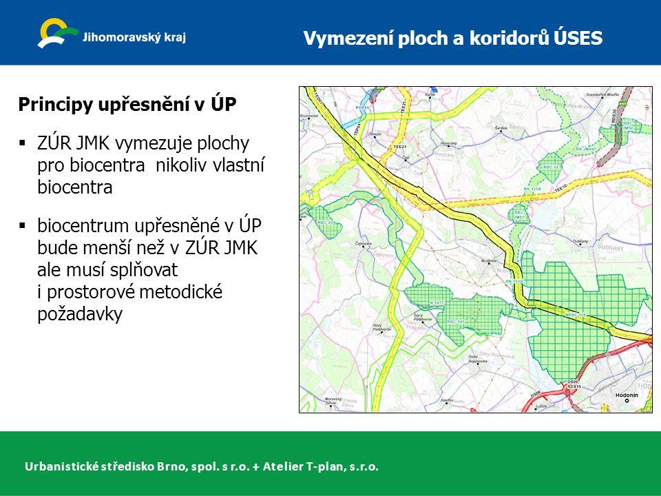 Urbanistické středisko Brno, spol. s r.o. + Atelier T-plan, s.r.o. Vymezení ploch a koridorů ÚSES Principy upřesnění v ÚP  ZÚR JMK vymezuje plochy pr