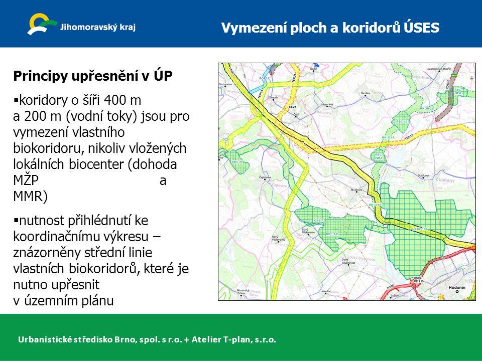 Urbanistické středisko Brno, spol. s r.o. + Atelier T-plan, s.r.o. Vymezení ploch a koridorů ÚSES Principy upřesnění v ÚP  koridory o šíři 400 m a 20
