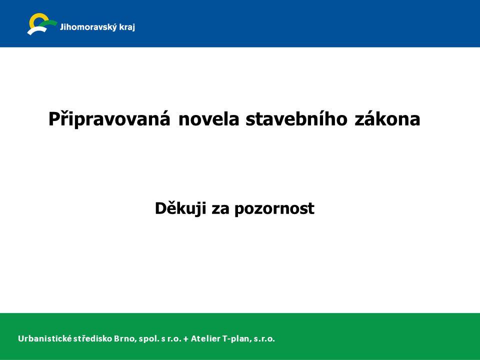 Urbanistické středisko Brno, spol. s r.o. + Atelier T-plan, s.r.o. Připravovaná novela stavebního zákona Děkuji za pozornost