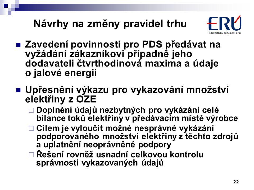 22 Návrhy na změny pravidel trhu Zavedení povinnosti pro PDS předávat na vyžádání zákazníkovi případně jeho dodavateli čtvrthodinová maxima a údaje o jalové energii Upřesnění výkazu pro vykazování množství elektřiny z OZE  Doplnění údajů nezbytných pro vykázání celé bilance toků elektřiny v předávacím místě výrobce  Cílem je vyloučit možné nesprávné vykázání podporovaného množství elektřiny z těchto zdrojů a uplatnění neoprávněné podpory  Řešení rovněž usnadní celkovou kontrolu správnosti vykazovaných údajů