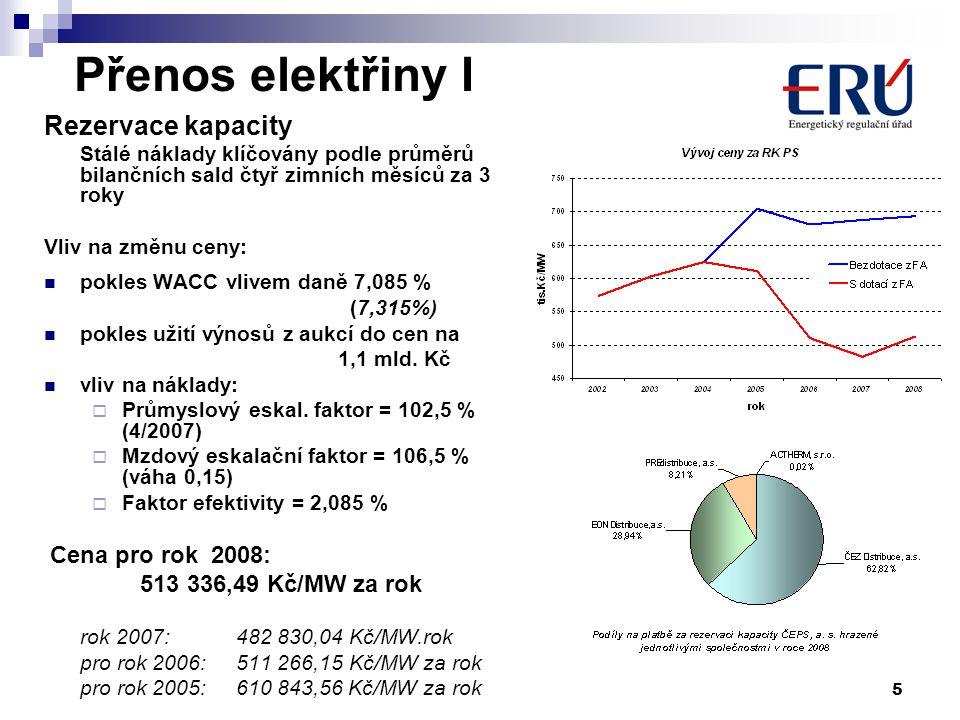 5 Přenos elektřiny I Rezervace kapacity Stálé náklady klíčovány podle průměrů bilančních sald čtyř zimních měsíců za 3 roky Vliv na změnu ceny: pokles WACC vlivem daně 7,085 % (7,315%) pokles užití výnosů z aukcí do cen na 1,1 mld.