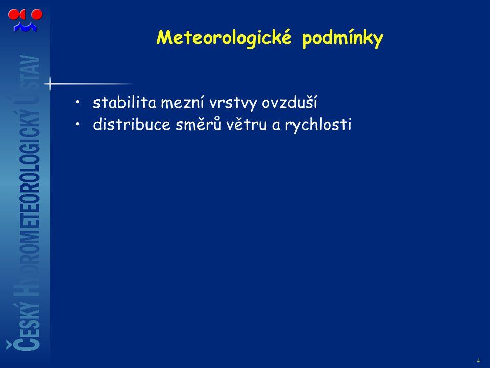 4 Meteorologické podmínky stabilita mezní vrstvy ovzduší distribuce směrů větru a rychlosti