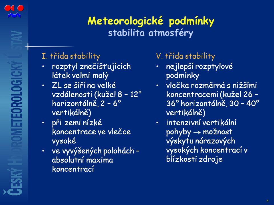 6 Meteorologické podmínky stabilita atmosféry I. třída stability rozptyl znečišťujících látek velmi malý ZL se šíří na velké vzdálenosti (kužel 8 – 12