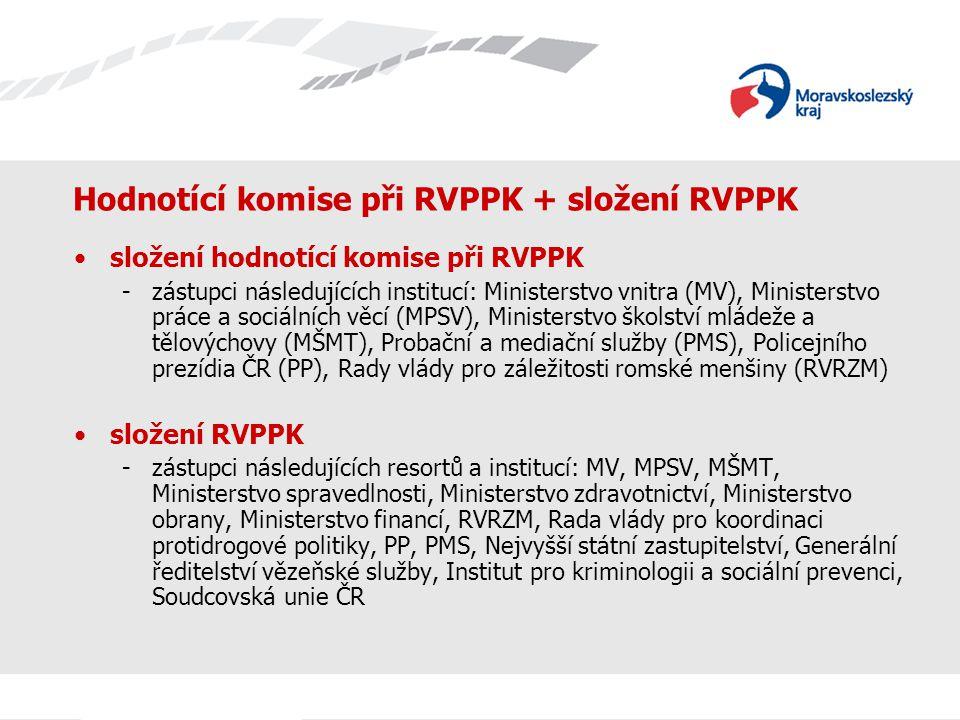 Hodnotící komise při RVPPK + složení RVPPK složení hodnotící komise při RVPPK -zástupci následujících institucí: Ministerstvo vnitra (MV), Ministerstvo práce a sociálních věcí (MPSV), Ministerstvo školství mládeže a tělovýchovy (MŠMT), Probační a mediační služby (PMS), Policejního prezídia ČR (PP), Rady vlády pro záležitosti romské menšiny (RVRZM) složení RVPPK -zástupci následujících resortů a institucí: MV, MPSV, MŠMT, Ministerstvo spravedlnosti, Ministerstvo zdravotnictví, Ministerstvo obrany, Ministerstvo financí, RVRZM, Rada vlády pro koordinaci protidrogové politiky, PP, PMS, Nejvyšší státní zastupitelství, Generální ředitelství vězeňské služby, Institut pro kriminologii a sociální prevenci, Soudcovská unie ČR