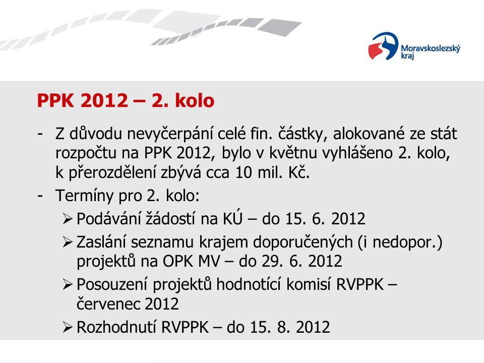 PPK 2012 – 2. kolo -Z důvodu nevyčerpání celé fin. částky, alokované ze stát rozpočtu na PPK 2012, bylo v květnu vyhlášeno 2. kolo, k přerozdělení zbý