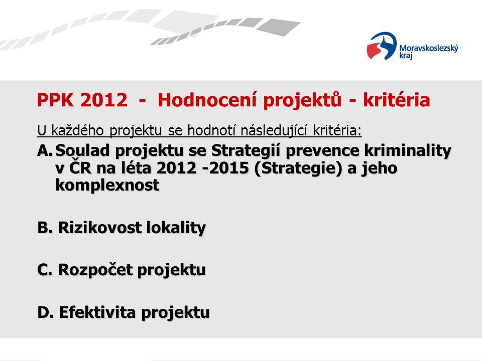 PPK 2012 - Hodnocení projektů - kritéria U každého projektu se hodnotí následující kritéria: A.Soulad projektu se Strategií prevence kriminality v ČR na léta 2012 -2015 (Strategie) a jeho komplexnost B.
