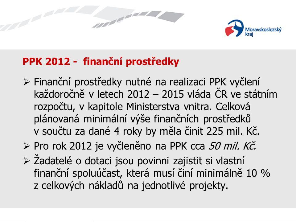 PPK 2012 - finanční prostředky  Finanční prostředky nutné na realizaci PPK vyčlení každoročně v letech 2012 – 2015 vláda ČR ve státním rozpočtu, v ka