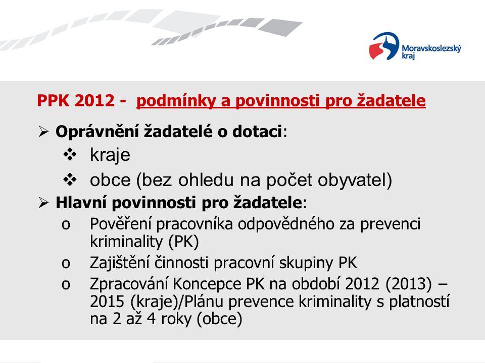 PPK 2012 - podmínky a povinnosti pro žadatele  Oprávnění žadatelé o dotaci:  kraje  obce (bez ohledu na počet obyvatel)  Hlavní povinnosti pro žad
