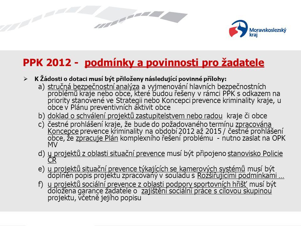 PPK 2012 - podmínky a povinnosti pro žadatele  K Žádosti o dotaci musí být přiloženy následující povinné přílohy: a)stručná bezpečnostní analýza a vy