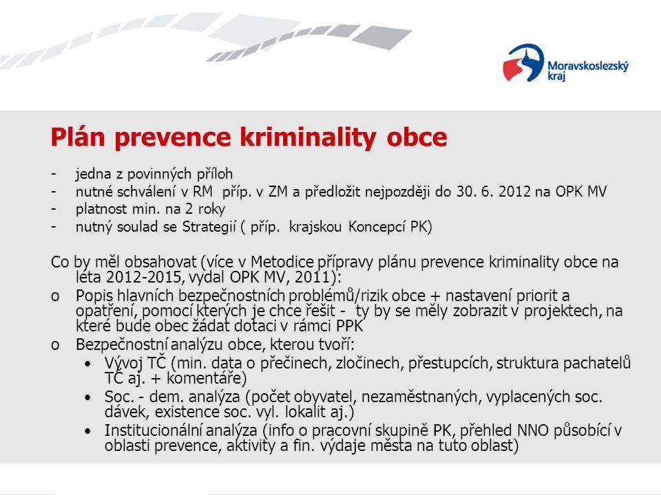Plán prevence kriminality obce -jedna z povinných příloh -nutné schválení v RM příp. v ZM a předložit nejpozději do 30. 6. 2012 na OPK MV -platnost mi