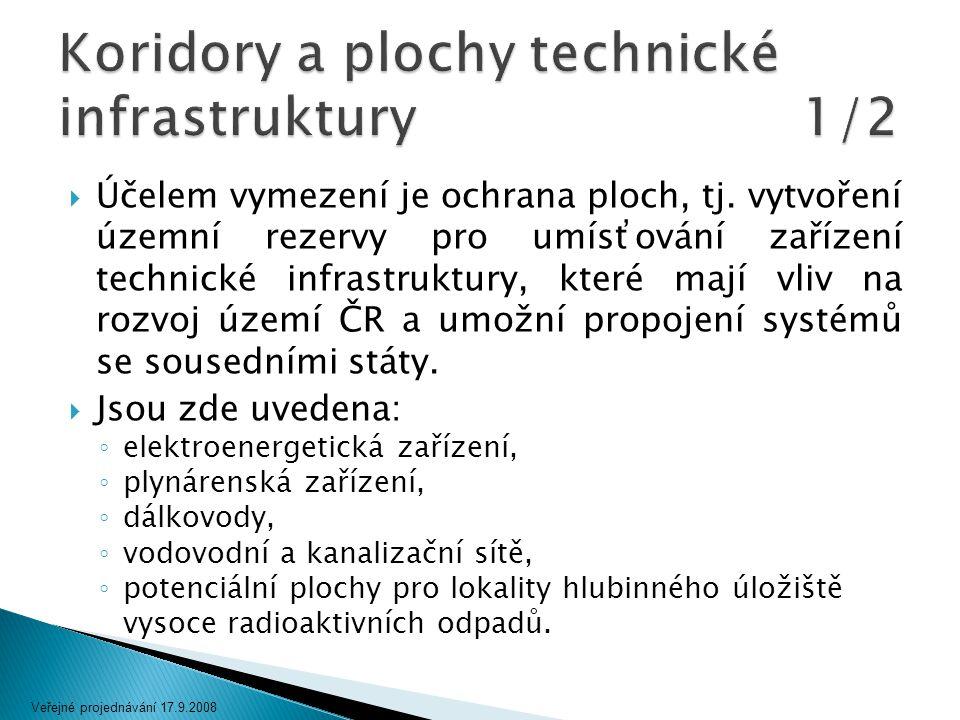  Účelem vymezení je ochrana ploch, tj. vytvoření územní rezervy pro umísťování zařízení technické infrastruktury, které mají vliv na rozvoj území ČR