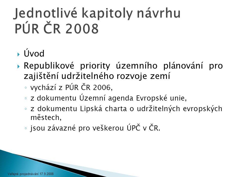  Úvod  Republikové priority územního plánování pro zajištění udržitelného rozvoje zemí ◦ vychází z PÚR ČR 2006, ◦ z dokumentu Územní agenda Evropské