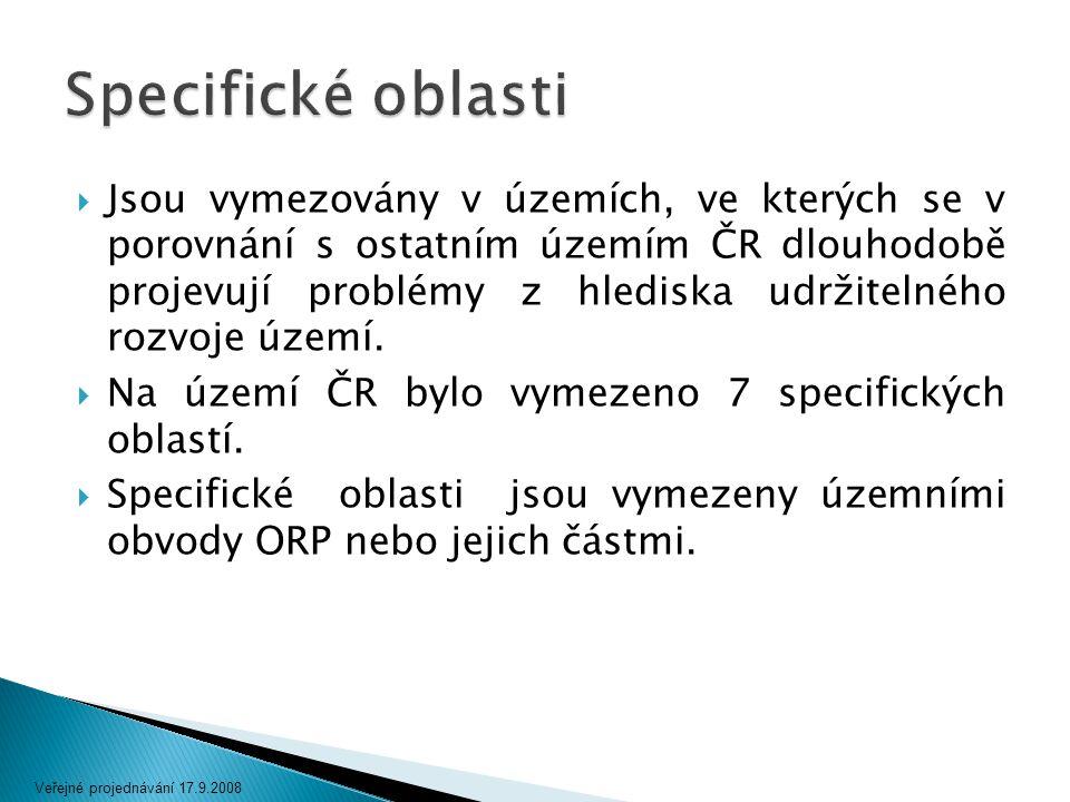  Jsou vymezovány v územích, ve kterých se v porovnání s ostatním územím ČR dlouhodobě projevují problémy z hlediska udržitelného rozvoje území.  Na