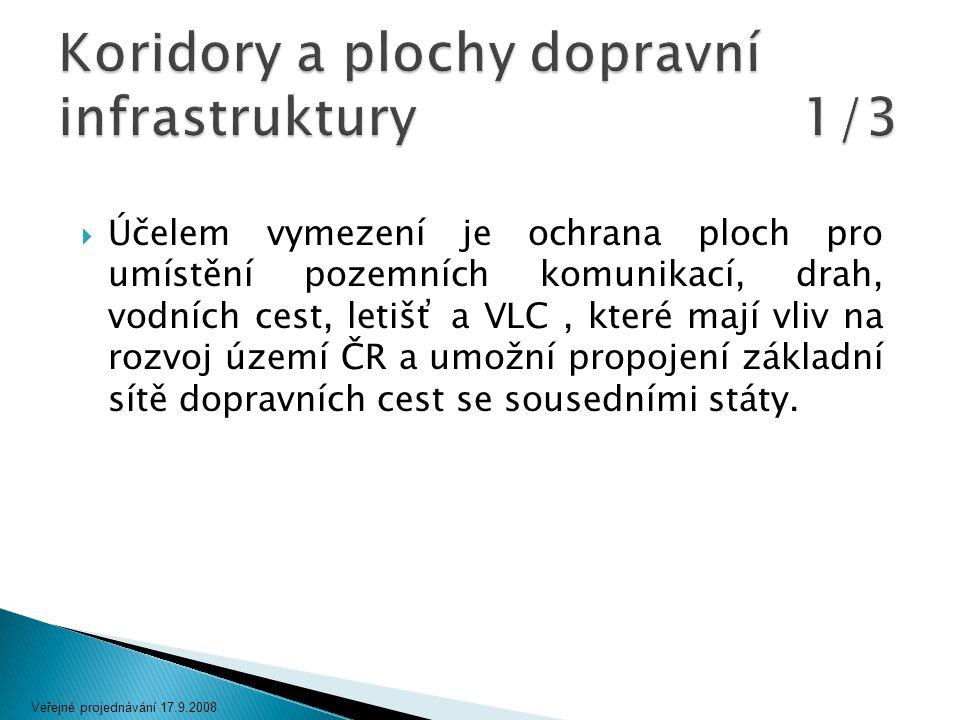  Účelem vymezení je ochrana ploch pro umístění pozemních komunikací, drah, vodních cest, letišť a VLC, které mají vliv na rozvoj území ČR a umožní pr