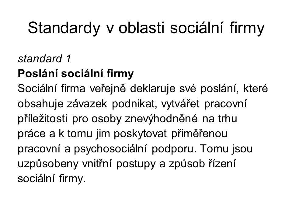 Standardy v oblasti sociální firmy standard 1 Poslání sociální firmy Sociální firma veřejně deklaruje své poslání, které obsahuje závazek podnikat, vy