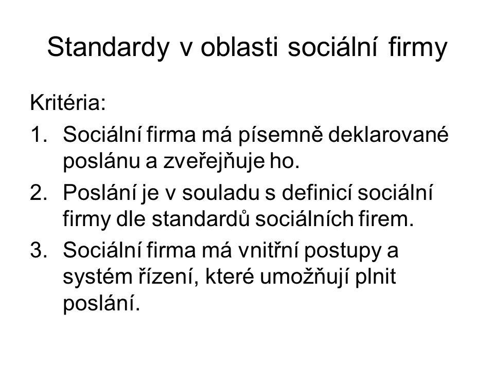 Standardy v oblasti sociální firmy Kritéria: 1.Sociální firma má písemně deklarované poslánu a zveřejňuje ho. 2.Poslání je v souladu s definicí sociál