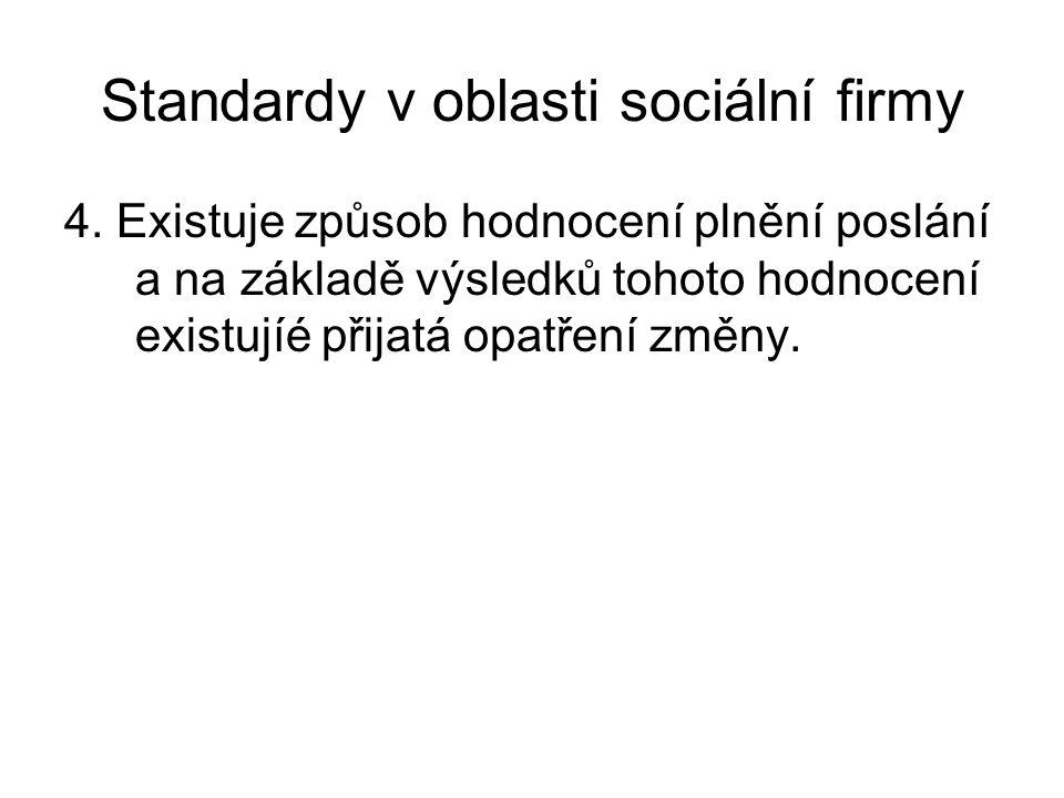 Standardy v oblasti sociální firmy 4. Existuje způsob hodnocení plnění poslání a na základě výsledků tohoto hodnocení existujíé přijatá opatření změny