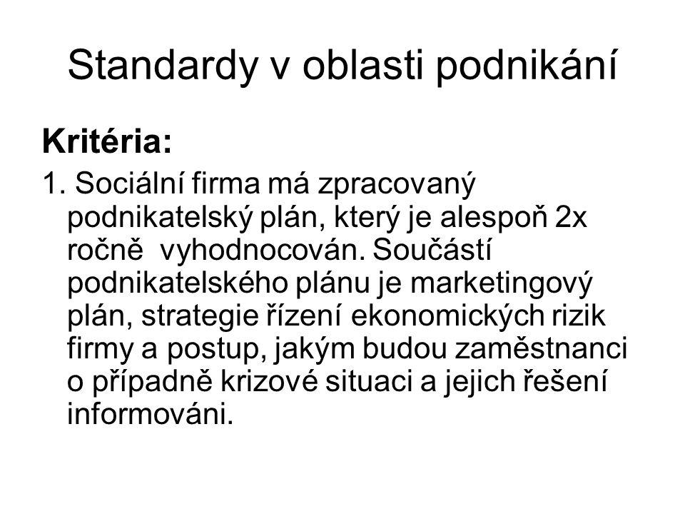 Standardy v oblasti podnikání Kritéria: 1. Sociální firma má zpracovaný podnikatelský plán, který je alespoň 2x ročně vyhodnocován. Součástí podnikate