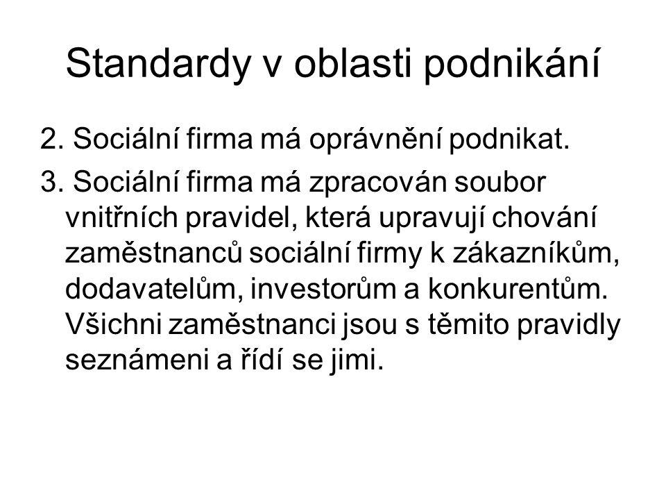 Standardy v oblasti podnikání 2. Sociální firma má oprávnění podnikat. 3. Sociální firma má zpracován soubor vnitřních pravidel, která upravují chován