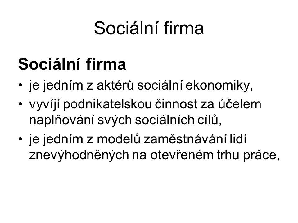 Sociální firma sociální firma poskytuje pracovní uplatnění, které se blíží běžnému zaměstnávání, přihlíží však výrazně ke specifikům svých zaměstnanců, poskytuje v případě potřeby určitou míru podpory, zároveň však usiluje o maximální využití potenciálu svých zaměstnanců a rozvoj jejich schopností a dovedností.